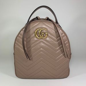 GUCCI GG Marmont Matelasse Backpack in Dusty Pink